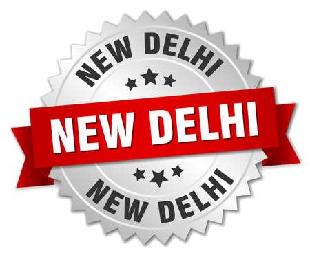 new delhi: New Delhi  round silver badge with red ribbon