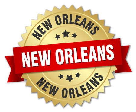 new orleans: New Orleans round golden badge with red ribbon