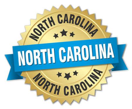 north carolina: North Carolina round golden badge with blue ribbon Illustration