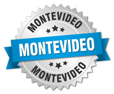 montevideo: Montevideo round silver badge with blue ribbon