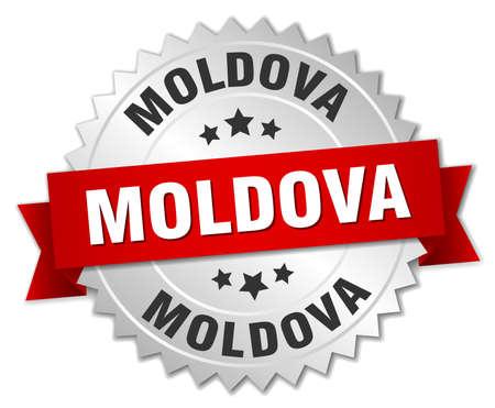 moldova: Moldova round silver badge with red ribbon