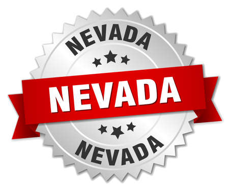 silvered: Nevada  round silver badge with red ribbon
