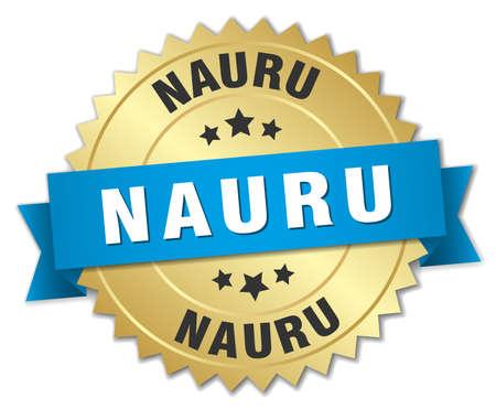 nauru: Nauru round golden badge with blue ribbon