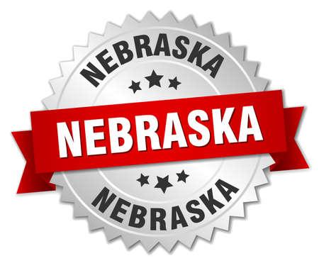nebraska: Nebraska round silver badge with red ribbon Illustration