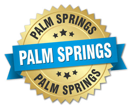 palm springs: Palm Springs round golden badge with blue ribbon