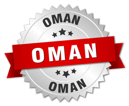oman background: Oman  round silver badge with red ribbon Illustration