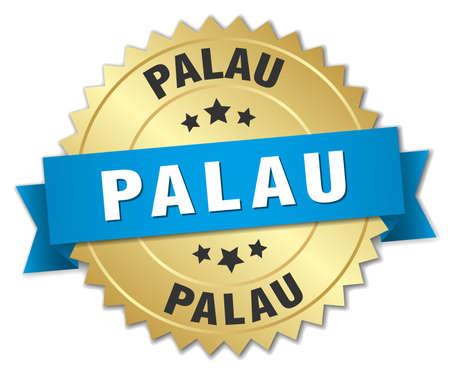 palau: Palau round golden badge with blue ribbon