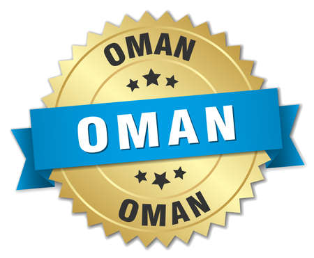 oman: Oman round golden badge with blue ribbon
