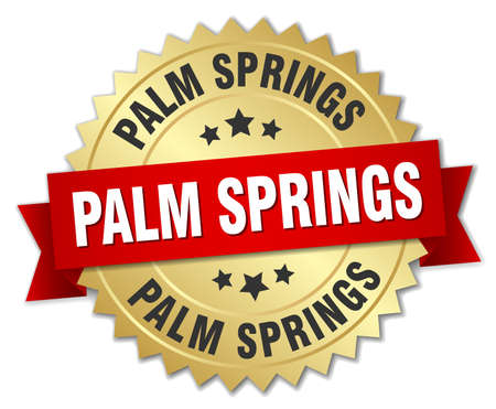 palm springs: Palm Springs round golden badge with red ribbon