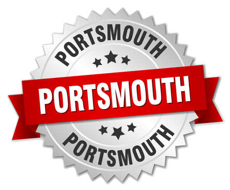 Portsmouth  round silver badge with red ribbon Illustration