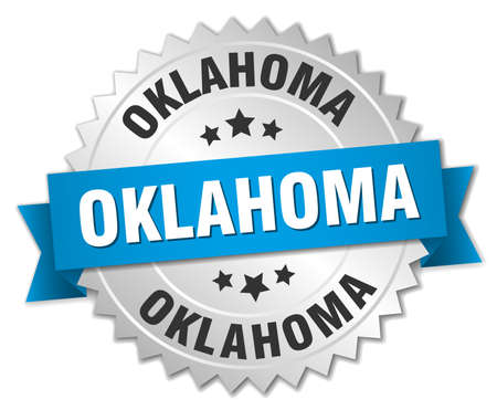 oklahoma: Oklahoma round silver badge with blue ribbon Illustration
