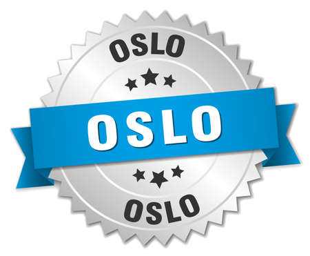silver ribbon: Oslo round silver badge with blue ribbon Illustration