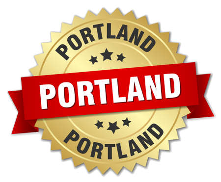 portland: Portland round golden badge with red ribbon