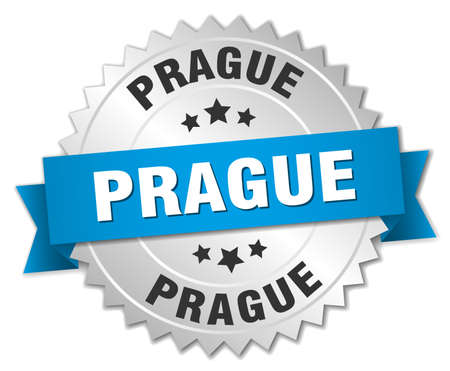 silver ribbon: Prague round silver badge with blue ribbon