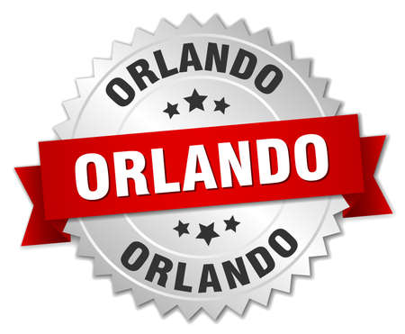 silver ribbon: Orlando  round silver badge with red ribbon