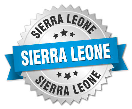 silver ribbon: Sierra Leone round silver badge with blue ribbon