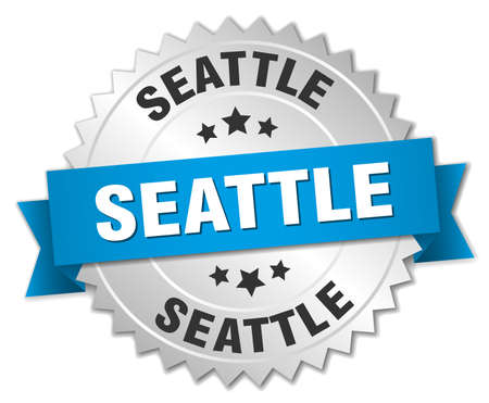 silver ribbon: Seattle round silver badge with blue ribbon
