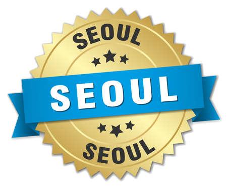 seoul: Seoul round golden badge with blue ribbon Illustration