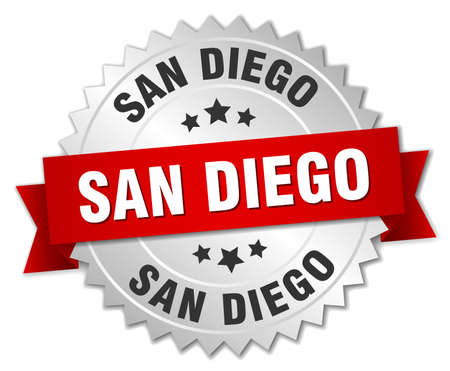 san diego: San Diego  round silver badge with red ribbon