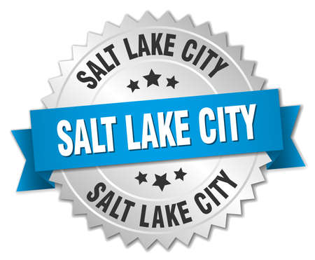 salt lake city: Salt Lake City round silver badge with blue ribbon