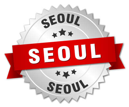 seoul: Seoul  round silver badge with red ribbon