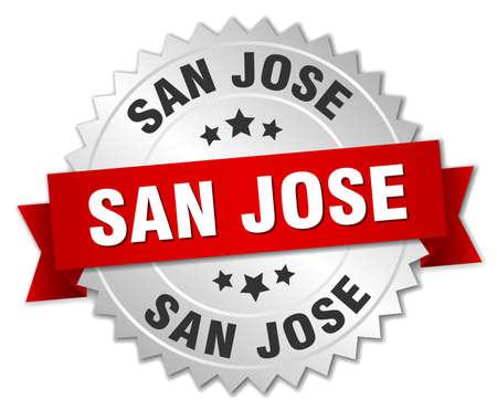 san jose: San Jose round silver badge with red ribbon Illustration