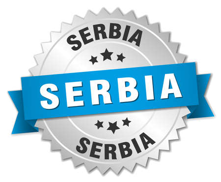 serbia: Serbia round silver badge with blue ribbon Illustration