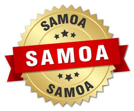 samoa: Samoa round golden badge with red ribbon