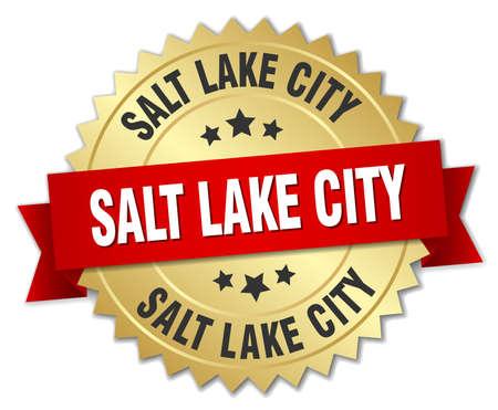 salt lake city: Salt Lake City round golden badge with red ribbon Illustration