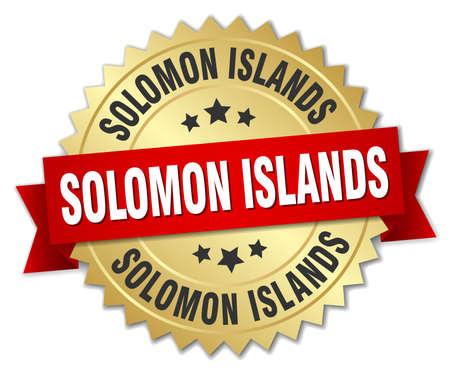 solomon: Solomon Islands round golden badge with red ribbon Illustration