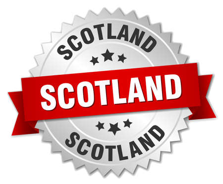silvered: Scotland  round silver badge with red ribbon