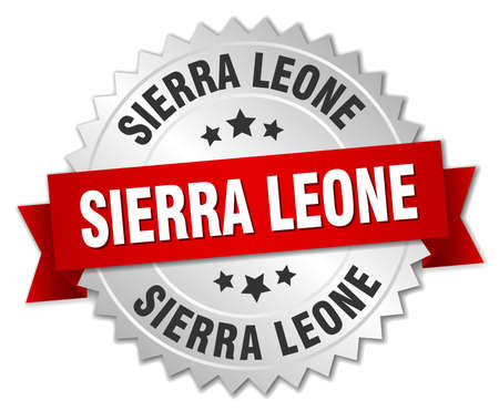 leone: Sierra Leone round silver badge with red ribbon