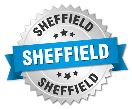 sheffield: Sheffield round silver badge with blue ribbon Illustration
