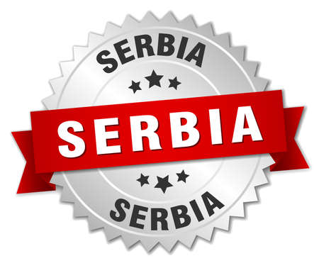 serbia: Serbia  round silver badge with red ribbon