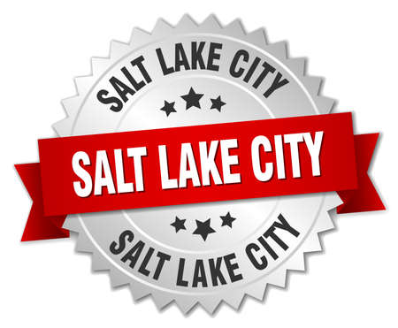 salt lake city: Salt Lake City  round silver badge with red ribbon