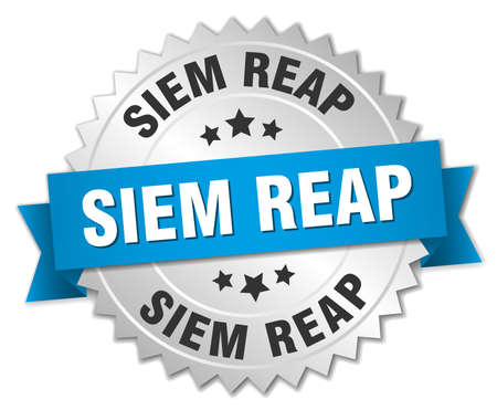 reap: Siem Reap round silver badge with blue ribbon