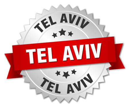 tel: Tel Aviv  round silver badge with red ribbon