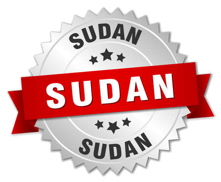 Sudan: Sudan  round silver badge with red ribbon Illustration