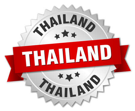silver ribbon: Thailand round silver badge with red ribbon