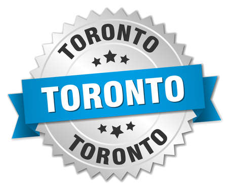 silvered: Toronto round silver badge with blue ribbon