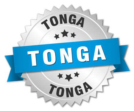 tonga: Tonga round silver badge with blue ribbon Illustration