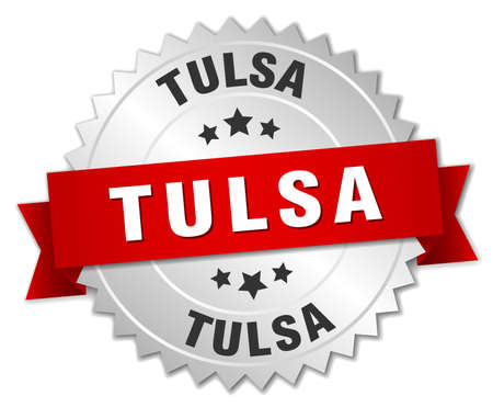 Tulsa  round silver badge with red ribbon