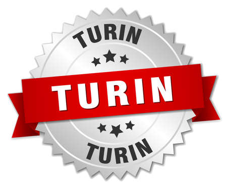 turin: Turin  round silver badge with red ribbon Illustration