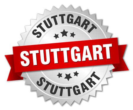 stuttgart: Stuttgart round silver badge with red ribbon