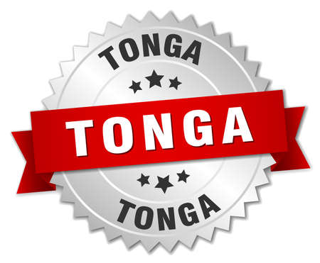 silvered: Tonga round silver badge with red ribbon Illustration