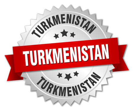turkmenistan: Turkmenistan  round silver badge with red ribbon