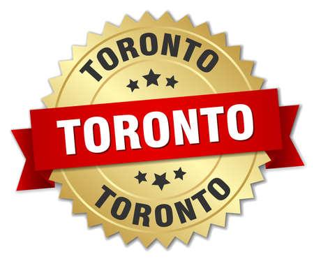 toronto: Toronto round golden badge with red ribbon Illustration