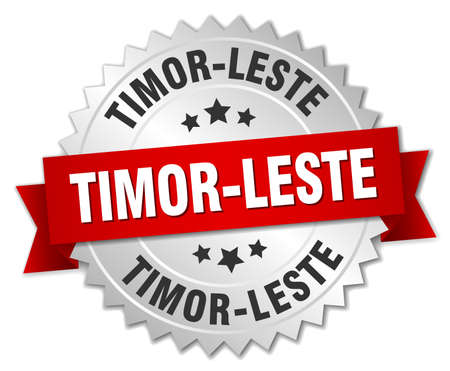 timor: Timor-Leste  round silver badge with red ribbon