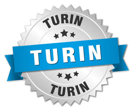 turin: Turin round silver badge with blue ribbon