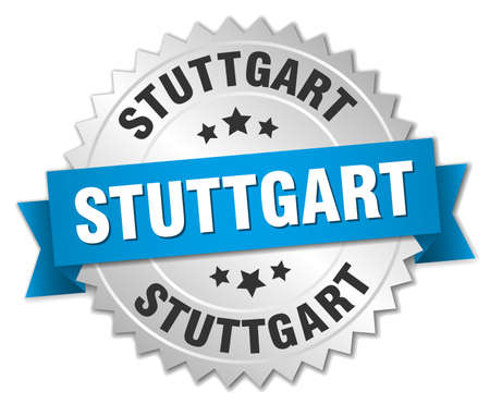 stuttgart: Stuttgart round silver badge with blue ribbon